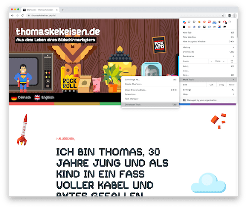 Screenshot: Öffnen der Entwickler-Tools in Google Chrome