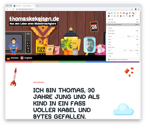 Screenshot: Neues Inkognito-Fenster in Google Chrome