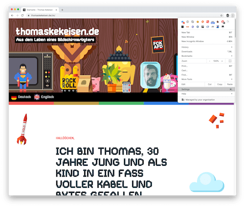 Screenshot: Einstellungen in Google Chrome