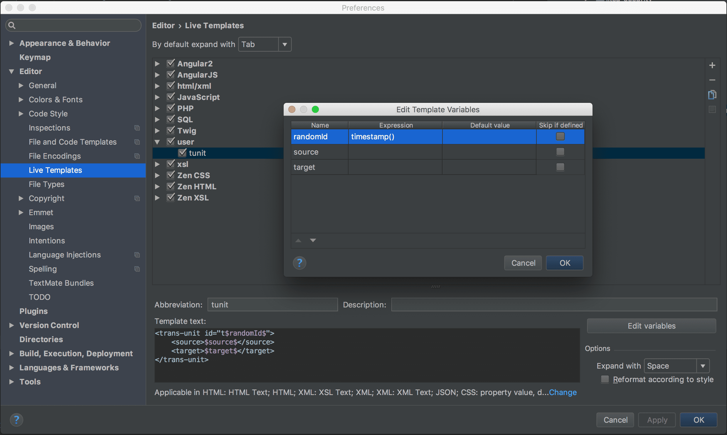 Live-Template-Einstellungen in PHPStorm